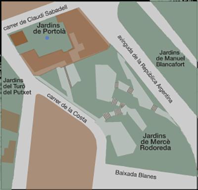 Situació dels jardins Mercè Rodoreda i de Portolà, al Putxet. Infografia de Mestre&Farràs scp