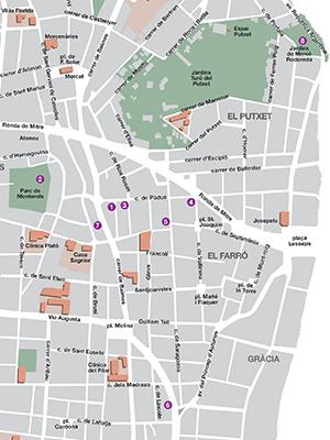 Itinerari de Mercè Rodoreda a sant Gervasi. Infografia de Mestre&Farràs scp.