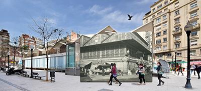 Fotomuntatge amb una fotografia de l'actual mercat de la plaça de Joaquim Folguera, inaugurat l'any 1968, a sobre, una fotografia de l'antic mercat, amb les parades de les pageses a l'exterior. Les dues fotografies s'han fet des del mateix lloc. Javier Sarda