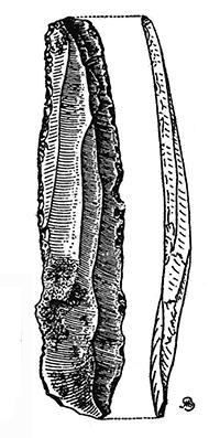 Ganivet de sílex trobat a Monterols. Dibuix de Francisco Benítez Mellado