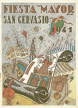 Portada del programa de la Festa Major de Sant Gervasi del 1941. El dibuix aplega elements referents de les festes majors i de Sant Gervasi i, entre ells, a la dreta, hi ha un envelat. Imatge cedida per Jordi Pablo i Grau, Arxiu Festiu de Catalunya, Fundació Privada