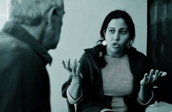 La Nedaa en un moment de l'entrevista a Espacio Con Sentido. Fotografia de Javier Sardá