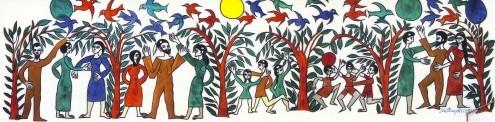 A sobre, el Mural Casa Reconciliació de Can Serra (1975). A la imatge destacada, La plaça Cardona (1999). Pintures de Jordi Maragall