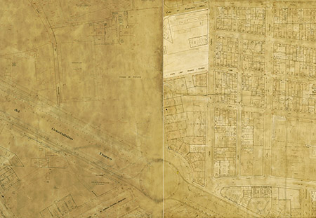 Plànol de 1928, amb modificacions i rotulació de 1945. La part de la dreta és de 1928 i l'altra de 1945, més urbanitzada. Plànol J. Martorell 1928-1945 (ACB)