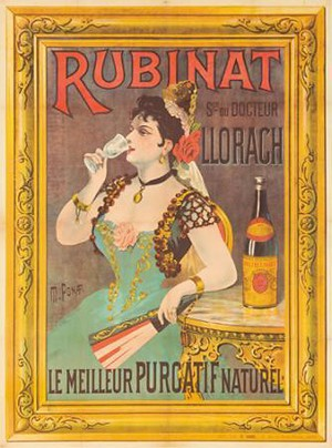 Cartell publicitari de les aigües Rubinat - Llorach, de principis del segle XX.