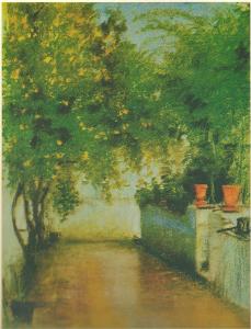 """El terrat de Caterina Albert. A la imatge destacada, Núria Cano interpretant la """"Mila"""" en l'adaptació de """"Solitud"""", que Romà Guardiet va dirigir el 1991."""
