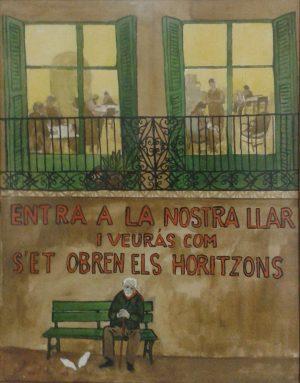 Il·lustracil recollida a l'exposició. A la imatge destacada, treballs de costura a la Llar, que es donen a l'Hospital de Sant Joan de Deu. Fotografies de Jesús Mestre