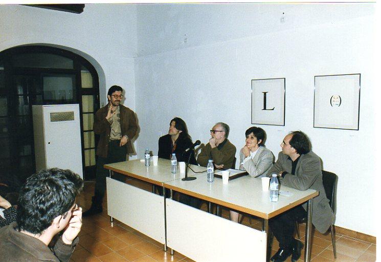 J. M. Calleja, Perejaume, Joan Brossa, Glòria Bordono i Jordi Coca a Can Palauet, a Mataró, l'any 1996.