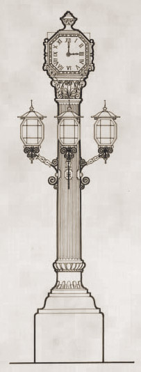 Secció del rellotge-fanal del centre del mercat, segons els plànols originals. Arxiu Contemporàni de Barcelona